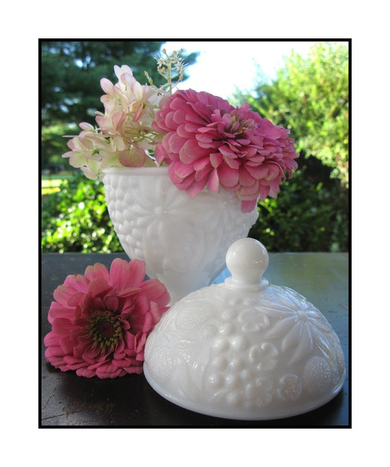 Vintage Milk Glass Covered Dish by Avon