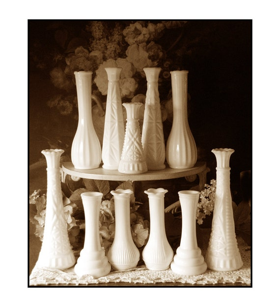 Vintage Milk Glass Bud Vase Collection - Party of Eleven