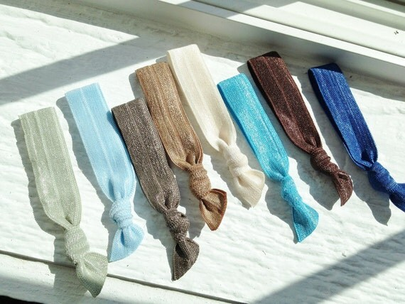 Ribbon hair ties : Freshly Hatched Collection in blues, tans & taupes