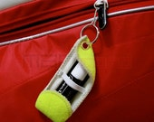 Handmade Recycled Tennis Ball Chapstick Holder - Keychain