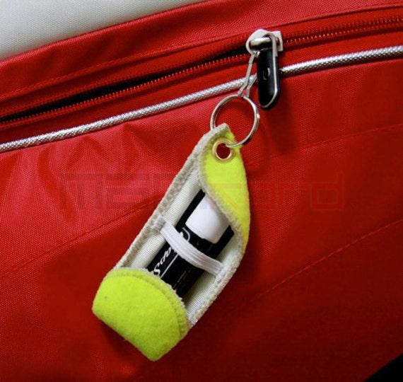 Handmade Recycled Tennis Ball Chapstick Holder - Keychain