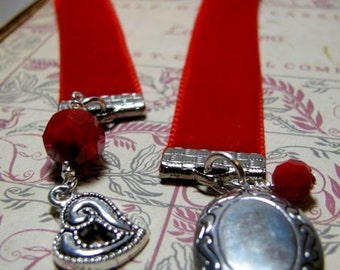 Red Velvet Bookmark with Locket & Heart Charms