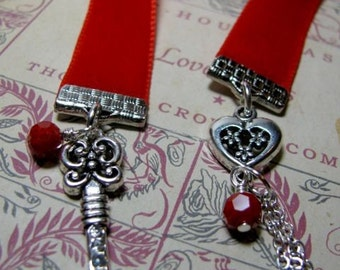 Red Velvet Bookmark with Skeleton Key & Heart Charms