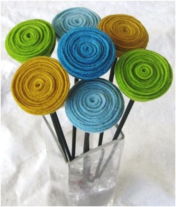 7 rosette stems-pick your colors