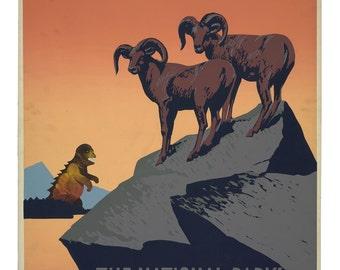 WPA poster, Monster Art, WPA art, National Park, National Parks, Bighorn Sheep, geekery, alternate histories, Wall art, vintage poster