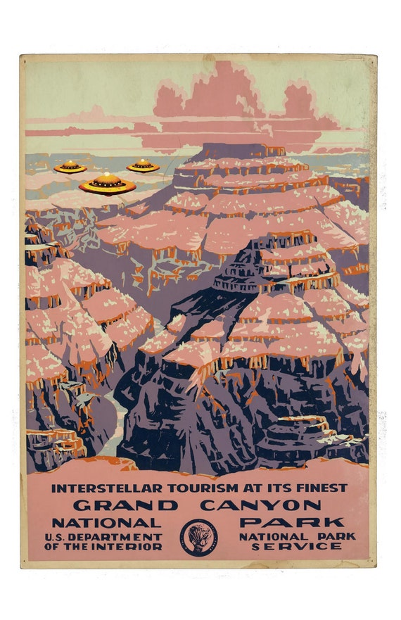 Grand Canyon, Digital Print, WPA poster, UFO Art, WPA art, National Park, flying saucer, Grand Canyon Painting, geekery, alternate histories