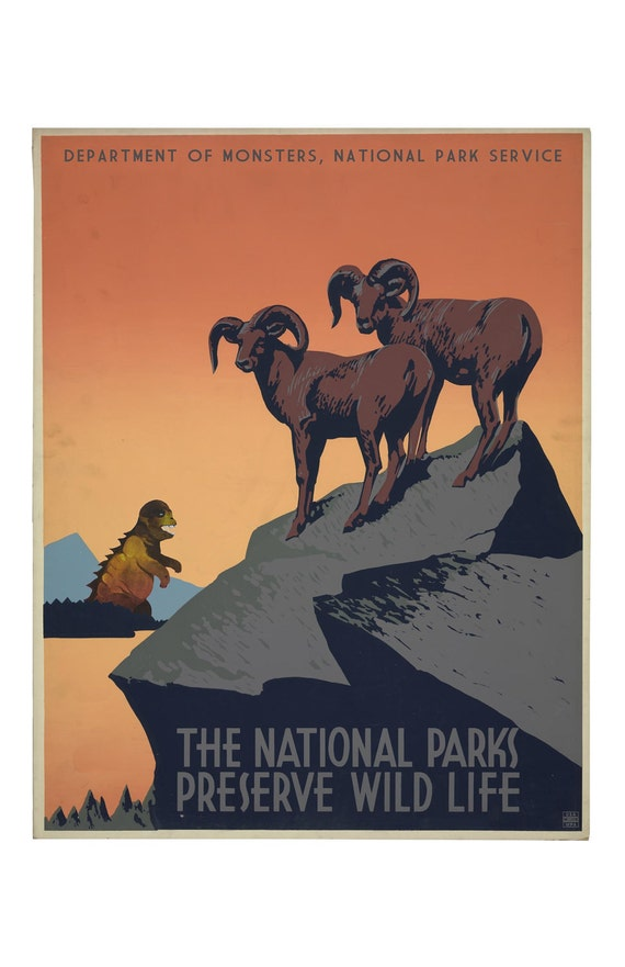 WPA poster, Monster Art, WPA art, National Park, National Parks, Bighorn Sheep, geekery, alternate histories, Wall art, vintage poster