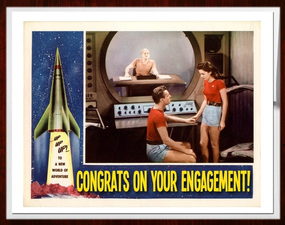 Engagement, Engagement Card, Wedding Card, Retro print, SciFi Art, Rocketship, Congratulations Card, Geekery, Alternate Histories