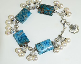 Larimar and White Pearl With Sea-Shell Charm,Sterling Silver Bracelet
