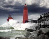 Storm at the Grand Haven Lighthouse in Michigan - A Seascape Lighthouse Photograph