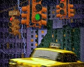 Yellow Taxi Cab in Rain Storm with Lightning Bolts and Traffic Lights in Urban Cityscape No.13633 Award Winning Surreal Fantasy Photograph