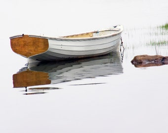White Wooden Row Boat at High Tide on a Foggy Morning by Mt. Desert Island and Acadia National Park in Maine No.22 A Nautical Photograph