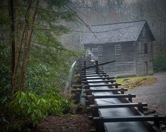 The Old Mingus Mill and Flume in the Great Smoky Mountain National Park in Tennessee No.0348 -  A Fine Art Landscape Photograph