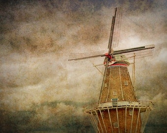 DeZwaan Dutch Windmill on Windmill Island in Holland Michigan with texture overlay No.186 - A Fine Art Photograph