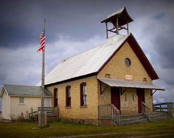 Old Two Room Schoolhouse in Southwest Michigan - A Historical Landscape Photograph