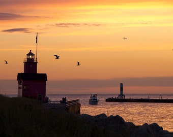 Big Red Lighthouse and Channel at Sunset by Ottawa Beach State Park on Lake Michigan in Holland Michigan No.0419 A Seascape Photograph