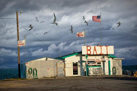 Fisherman Bait Shop by Aransas Pass in Texas on the Gulf of Mexico No.0498 - A Fine Art Seascape Photograph