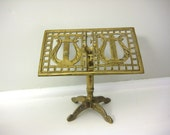 Vintage Brass Stand, Lyre Musical Instrument, Jewelry Holder, Small Harp Music Display Stand