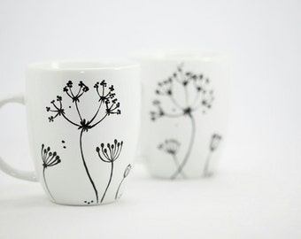 Hand painted Mugs Hand painted ceramic Queen Anne's Lace Hand Painted cups Minimal Kitchen decor Decorative Ceramic Coffee Mugs - set of two