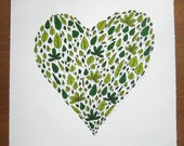 Heart shaped green leafy nature illustration screen print 'Lovely Spring Leaves' Ltd edition. Great Wedding & Valentine's day gift UK selle