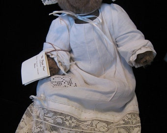 "A 13"" OOAK hand-made Artist Teddy Bear with Christening Gown of Vintage Fabric"