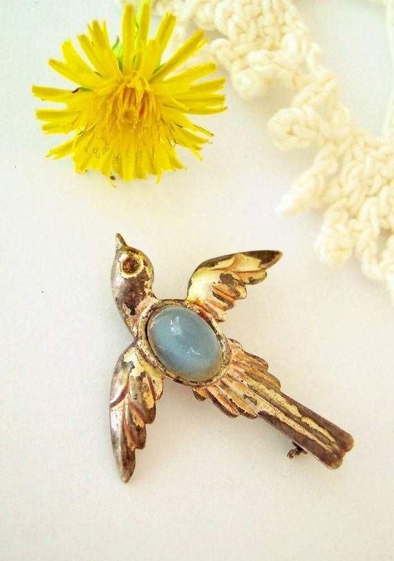 Fly Through My Window - Antique Sterling Silver and Gold Swallow Bird Brooch with Blue Jelly Belly Stone