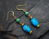 Reserved for K: Turquoise and Green Howlite earrings (gold)
