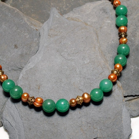 Bankok Necklace - Adventurine, Freshwater Pearl and Antique Gold