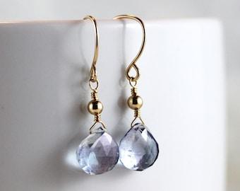 Mystic Blue Quartz Heart Briolette Gold Filled Earrings, Blue Gemstone - Nadia