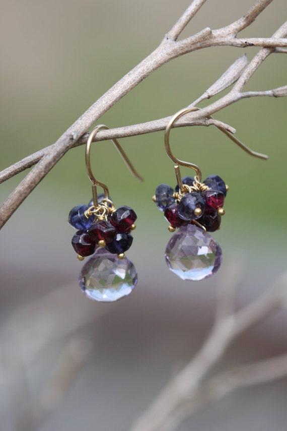 30% OFF - Pink Amethyst Iolite Garnet 14k Gold Filled Earrings Gemstone Cluster Semiprecious January February Birthstone Water Sapphire