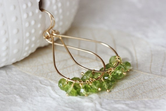 Green Peridot Tear Drop Earrings with 14k Gold Filled August Birthstone Gemstone Cluster - Priscilla