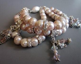 Pearl Rhinestone Multi Strand Bracelet, Bridal Jewelry, Pearl Bracelet, Pink Pearl Women's Bridal Bracelet