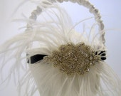 White Flower Girl Basket with Crystal Center and Ostrich Feathers