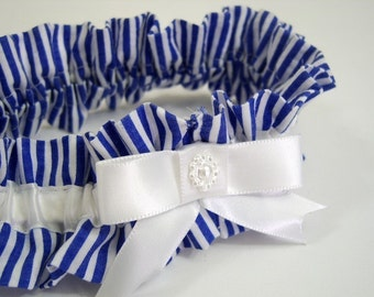Royal Blue and White Stripe Garter in Seersucker