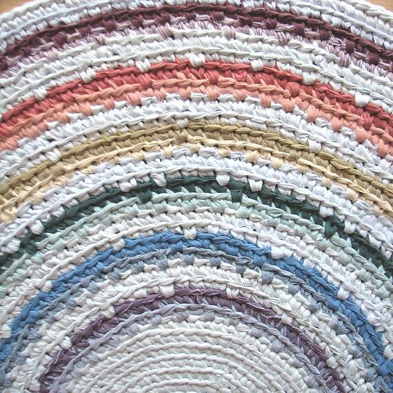 """50"""" Ready to Ship Rainbow Crocheted  Rag Rug"""
