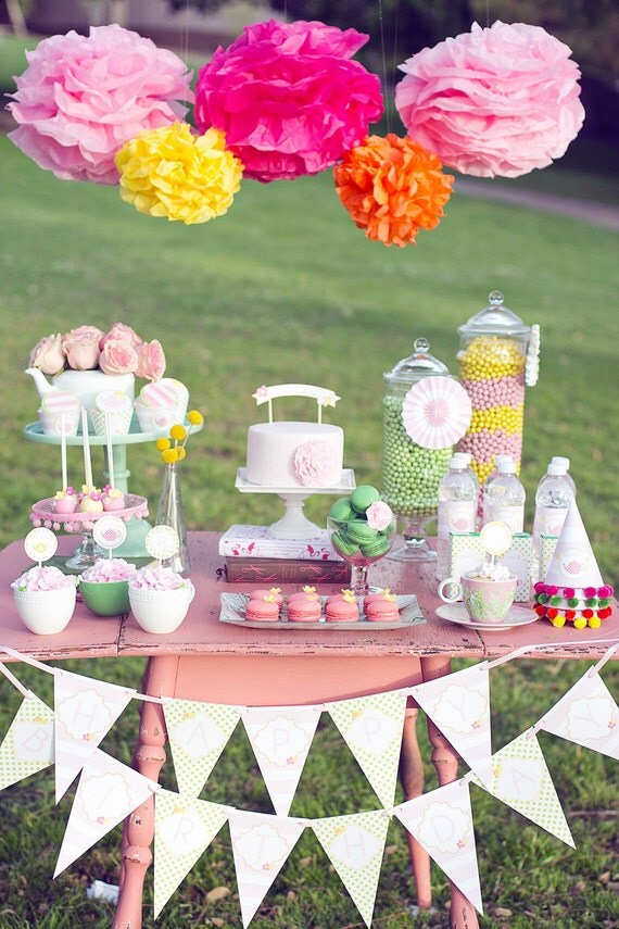 Printable garden tea party package featured on hostess with for Garden tea party table decorations