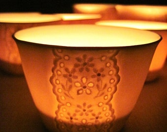 Handmade Porcelain Lace Cup, Translucent Candle Holder, Tea Light Votives-Hideminy Lace Series