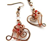 Hammered Heart and Swarovski Earrings Copper Wire Wrapped in Red Green or Blue CLEARANCE - heversonart