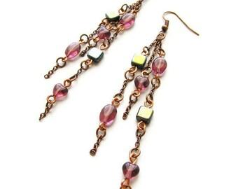 Long Chain Earrings Purple and Gunmetal Grey Czech Glass with Copper Chain CLEARANCE SALE - Purple Majesty