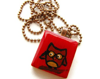Nerdy Red Owl with Glasses Necklace Scrabble Tile Jewelry Hand Painted - Smarty Owl CLEARANCE SALE