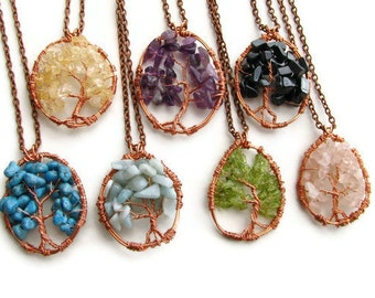 Gemstone Tree of Life Necklace Copper Wire Wrapped Many Gems Available, Rustic Nature Inspired Woodland Jewelry CLEARANCE SALE
