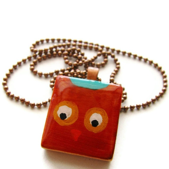 Painted Brown Owl Scrabble Necklace with Teal, Woodland Owl Nature Jewelry - Whoo