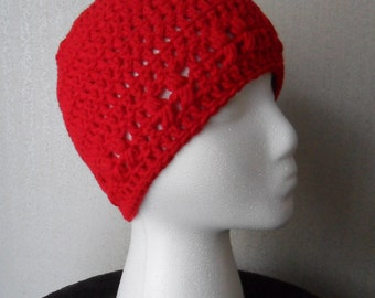 Kylie Hat in Cherry Red - Beanie Beenie Cloche Cap  - Made to Order - FREE US Shipping
