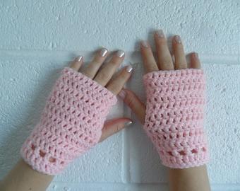 Hazel Wristlets in Baby Pink - Hand Wrist Warmers Fingerless Gloves Gauntlets Mittens - Made to Order