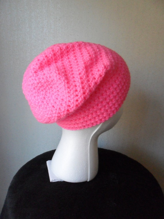 Long Slouchy Beanie Hat in Bright Pink - Size MEDIUM