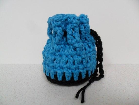 Cotton Coin Purse - Black & Blue - Money Dice Token Medicine Bag - Drawstring