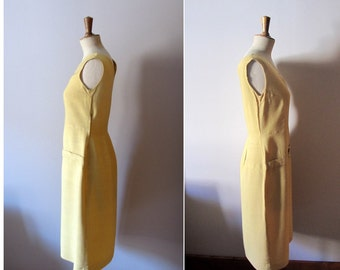 vintage 1920s drop waist yellow linen dress and matching cape