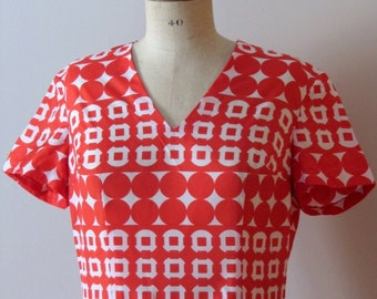 1960s red and white geometric dress