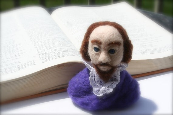 Needle Felted Bust of William Shakespeare, The Bard
