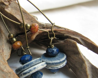 rustic denim earrings